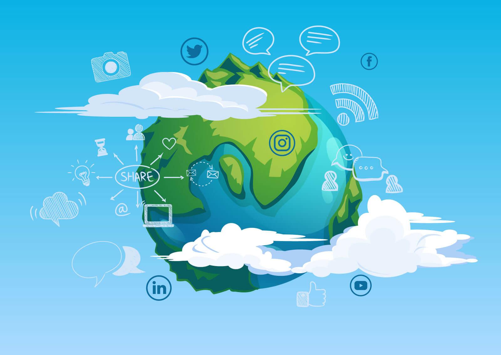 ilustracija planete zemlje koja je okružena društvenim mrežama, chatovima, prijateljima, share-ovanjem