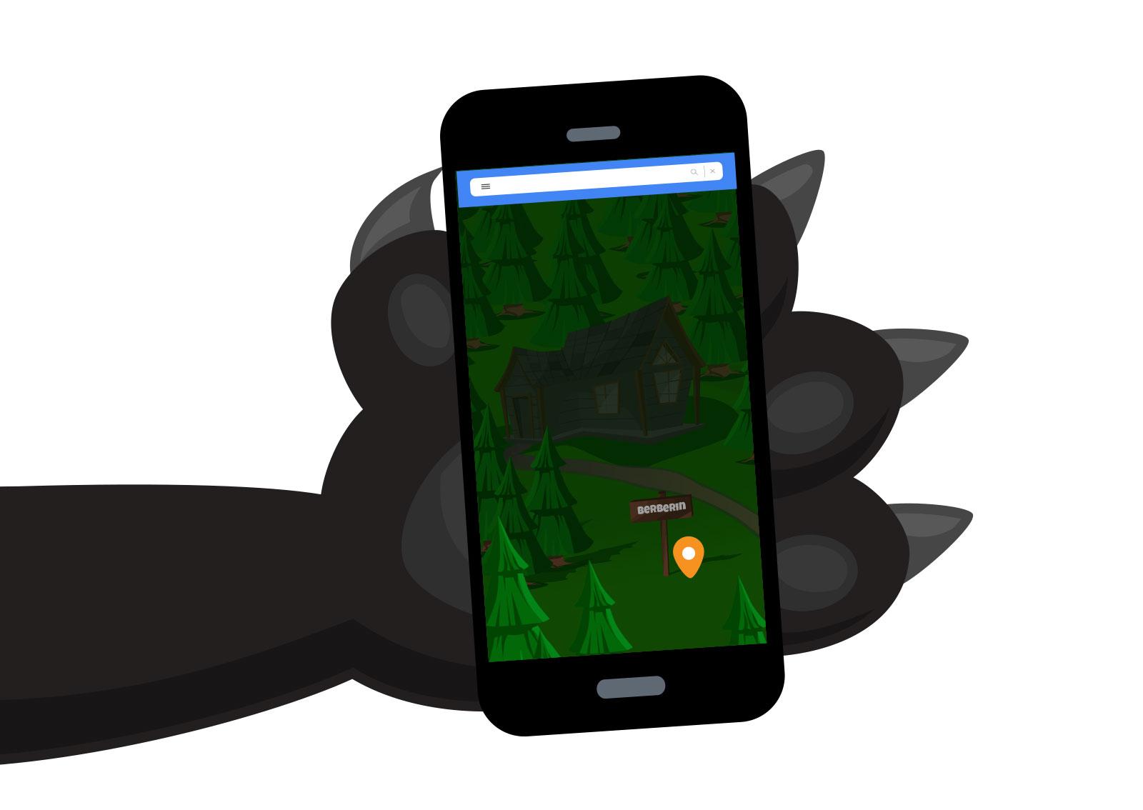 Ilustracija vučje šape koja drži mobilni telefon sa prikazom lokacije