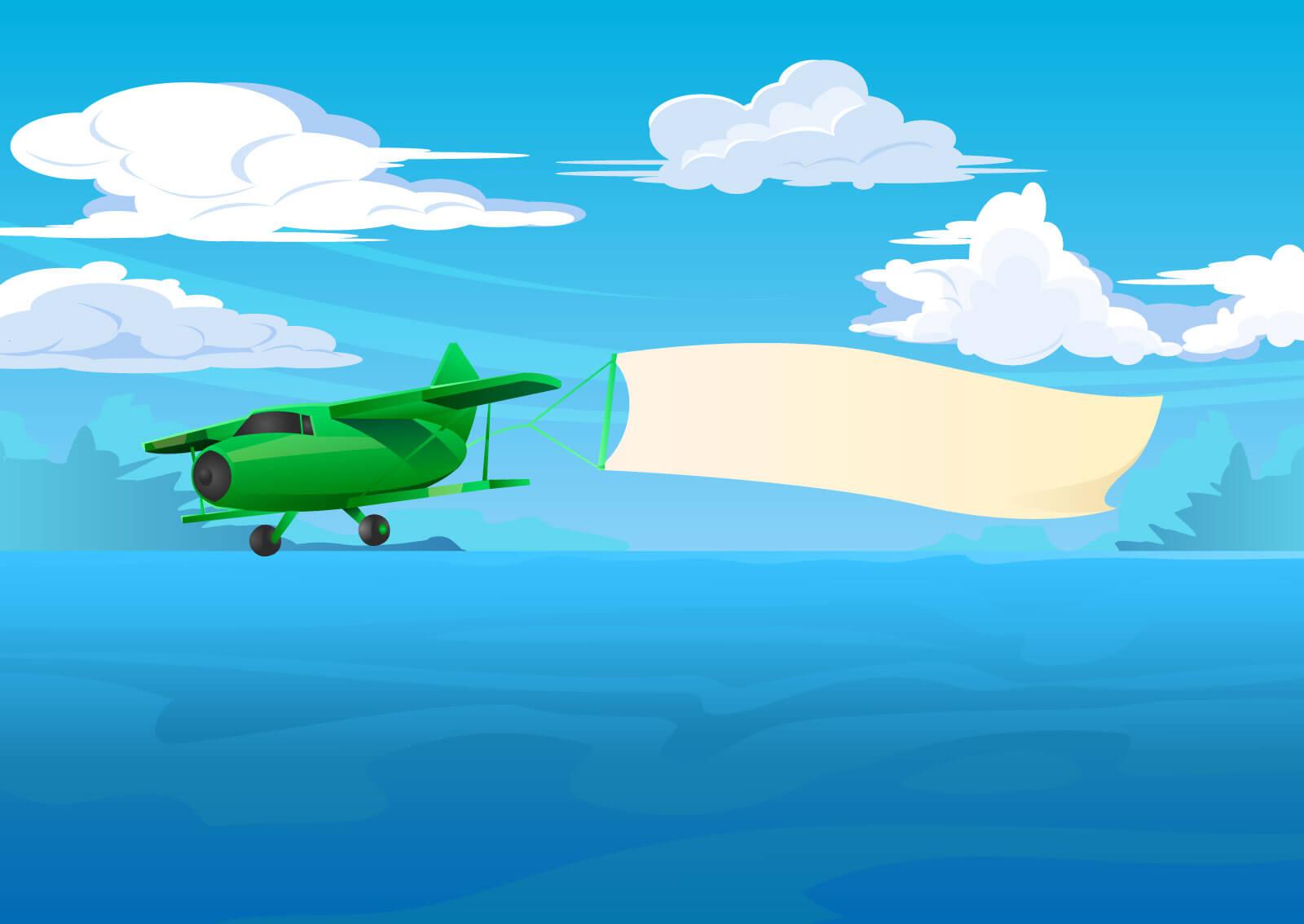 Ilsutracija aviona koji vuče prazan baner bez reklame