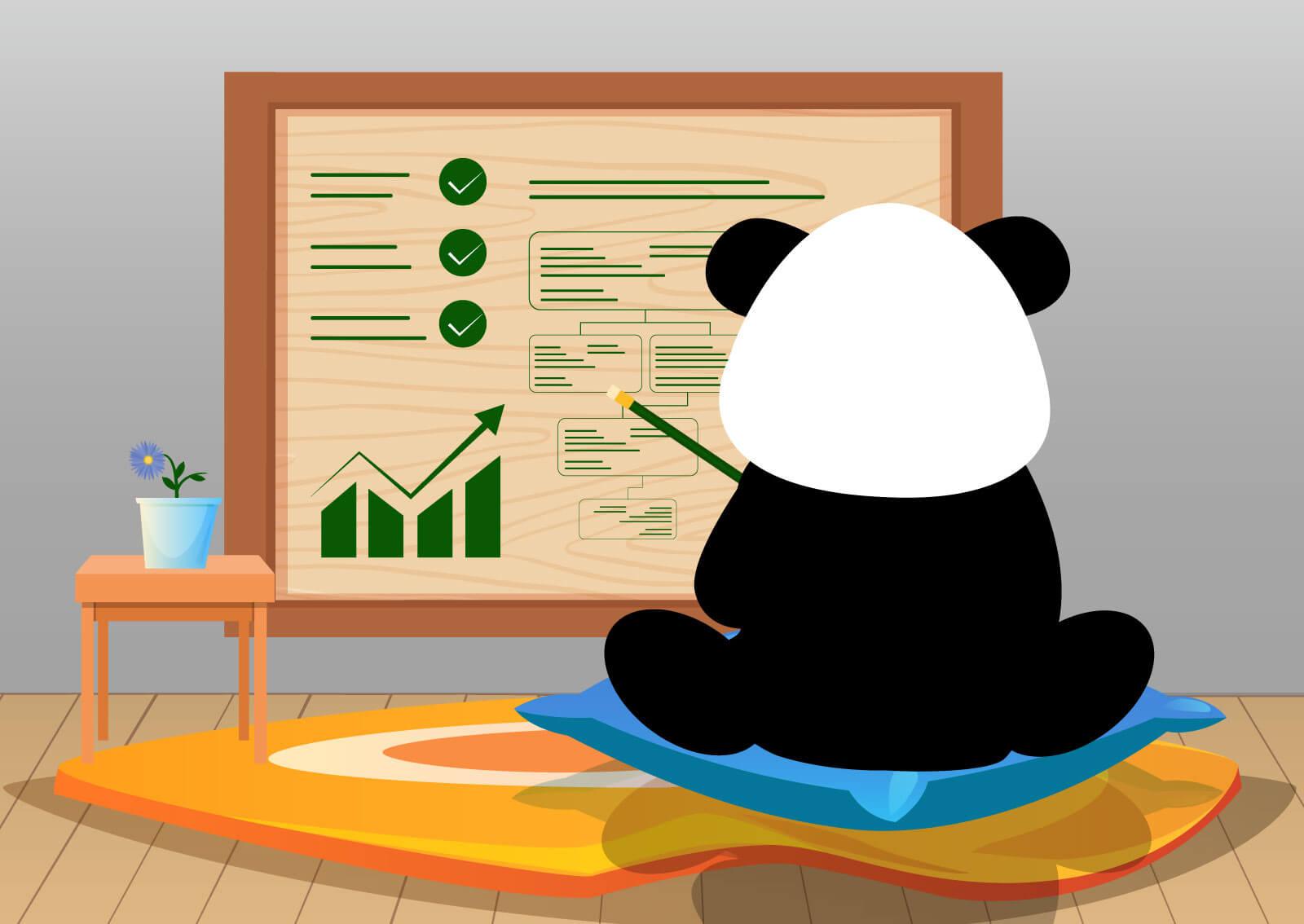 Ilustracija zbunjene pande koja gleda u panel od bambusa i uzaludno pokušava da realizuje plan