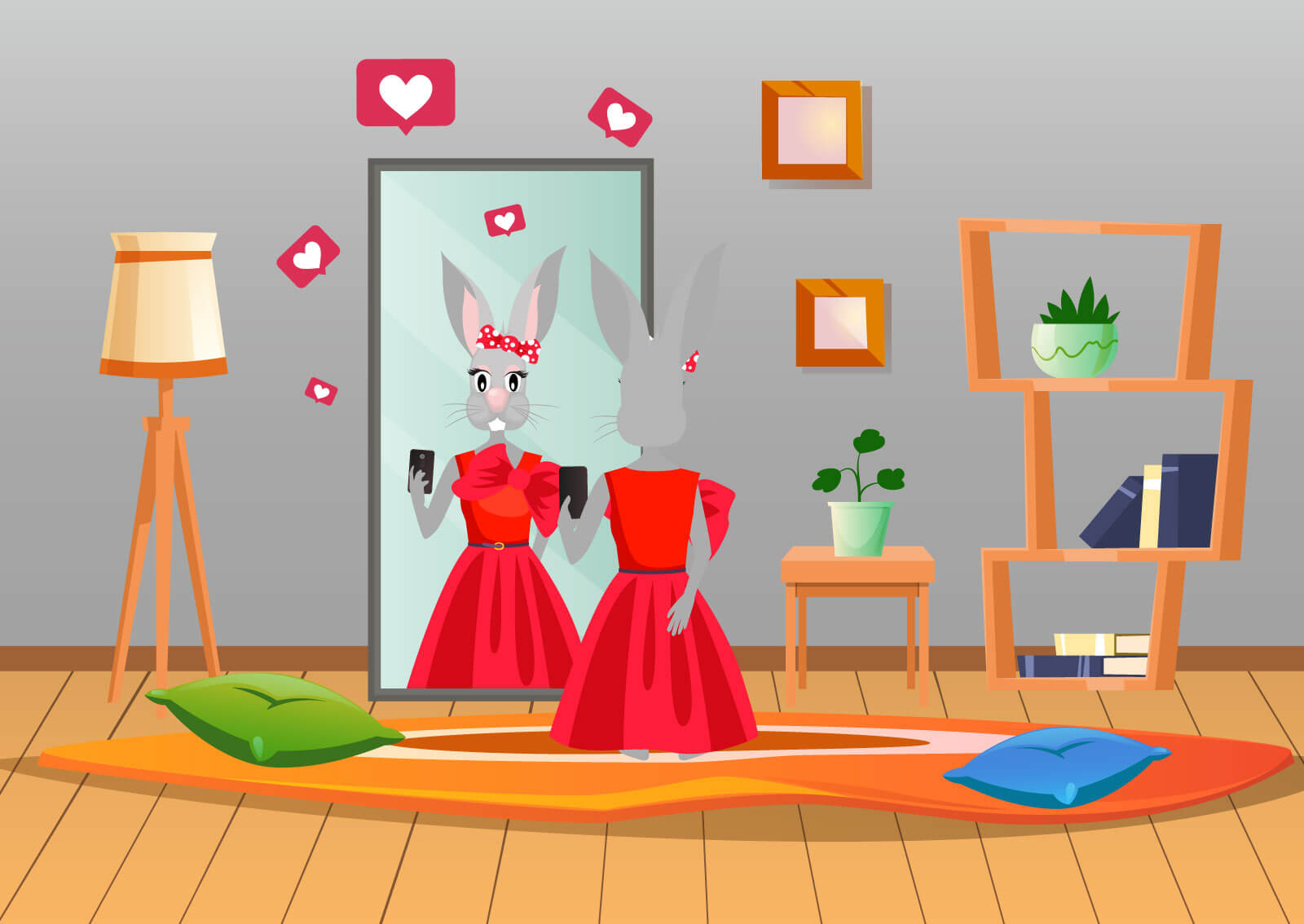 Ilustracija zečice koja pozira ispred ogledala i slika se telefonom da bi na Instagramu prikupila što više lajkova