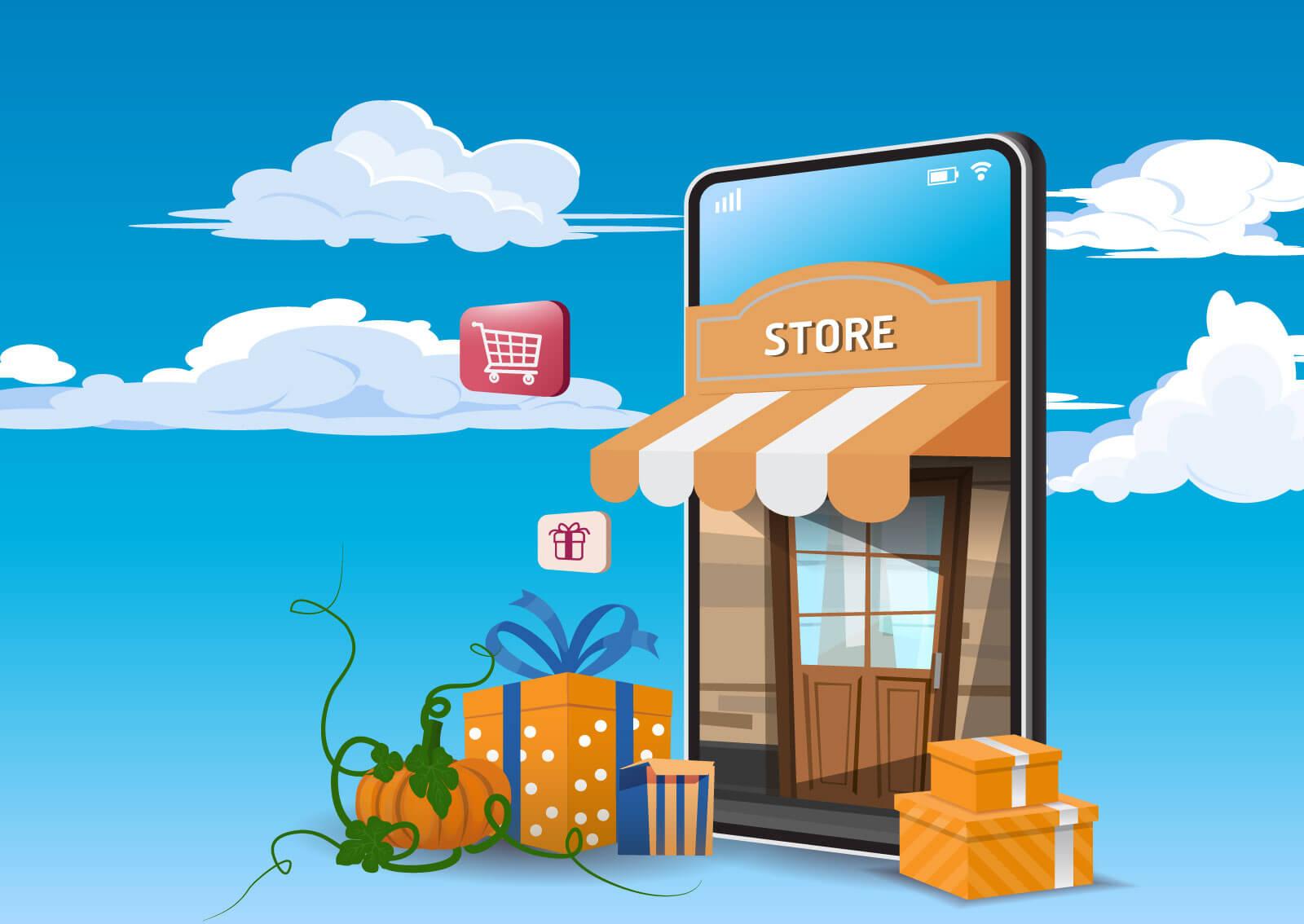 lustracija online prodavnice koja izlazi iz telefona i koja prikazuje koliko je jednostavno korišćenje e-commerce-a