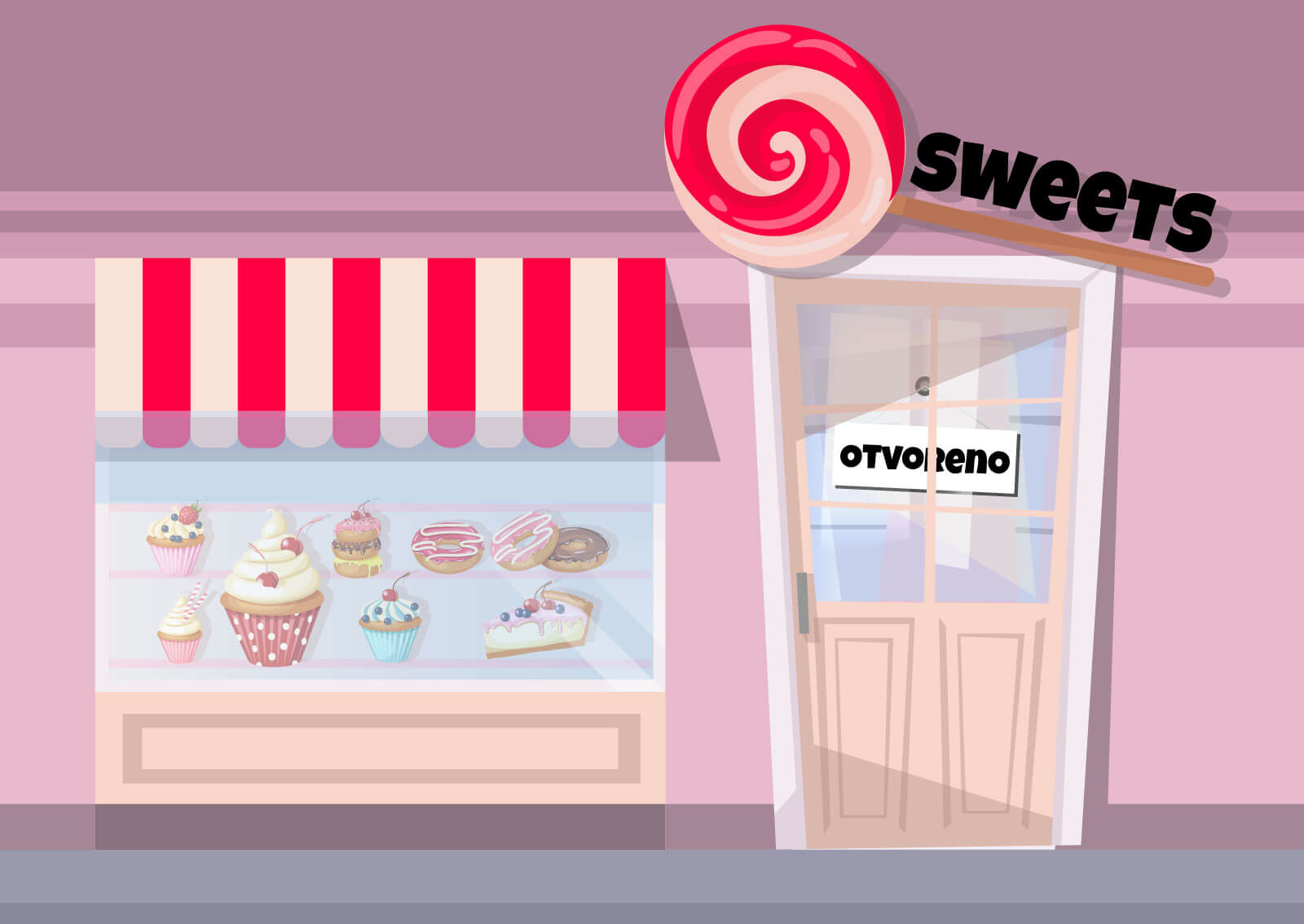 Ilustracija radnje sa slatkišima na kojoj piše - Otvoreno