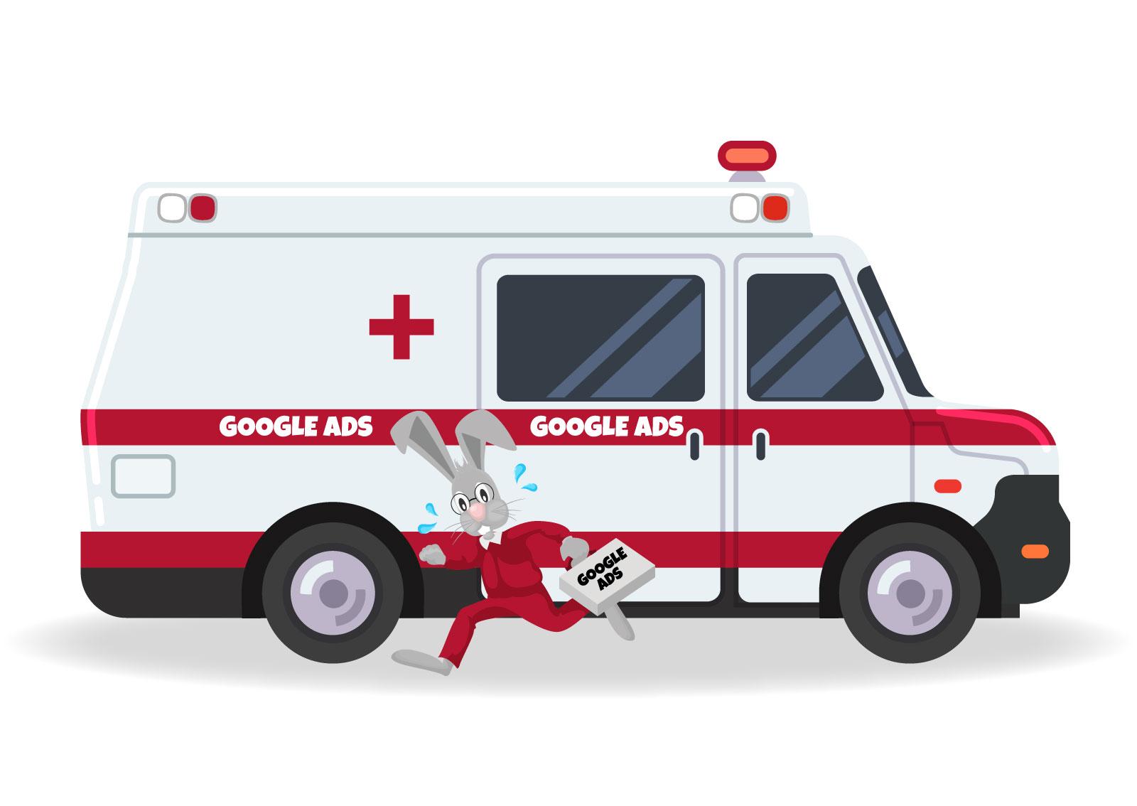 Ilustracija zeca koji trči iz kola hitne pomoći i donosi Google Ads onda kada nema vremena za SEO