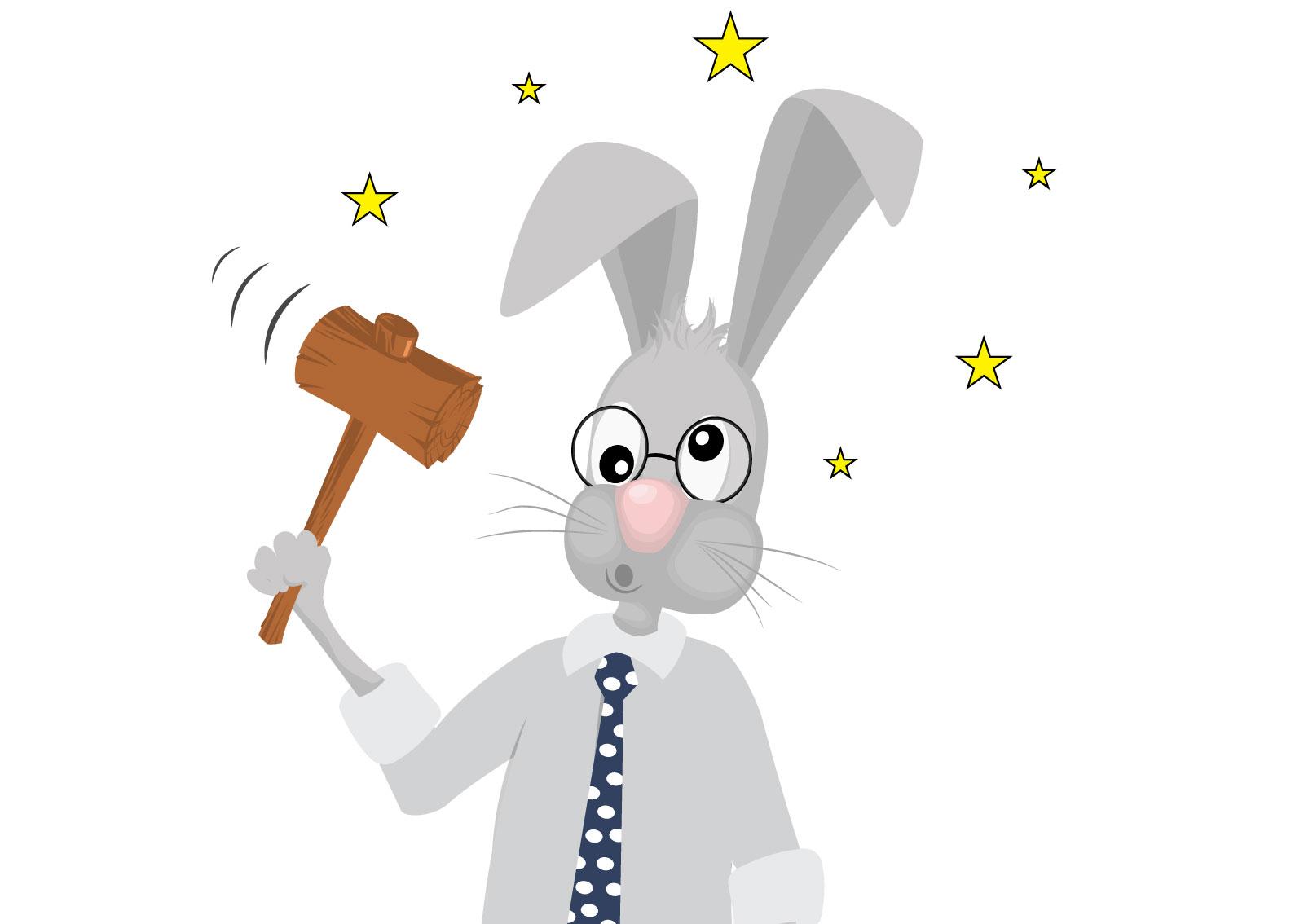 Smešna Ilustracija zeca koji se udara čekićem po glavi