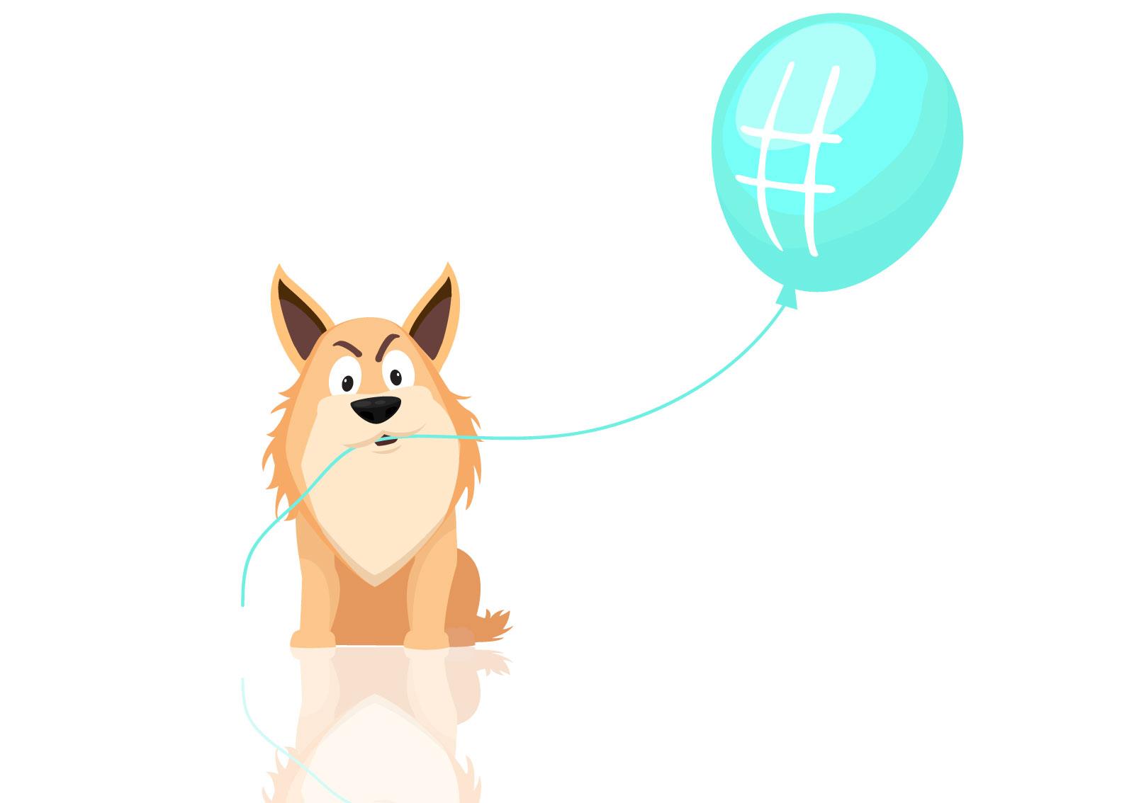 Ilustracija psa koji drži plavi balon sa znakom #