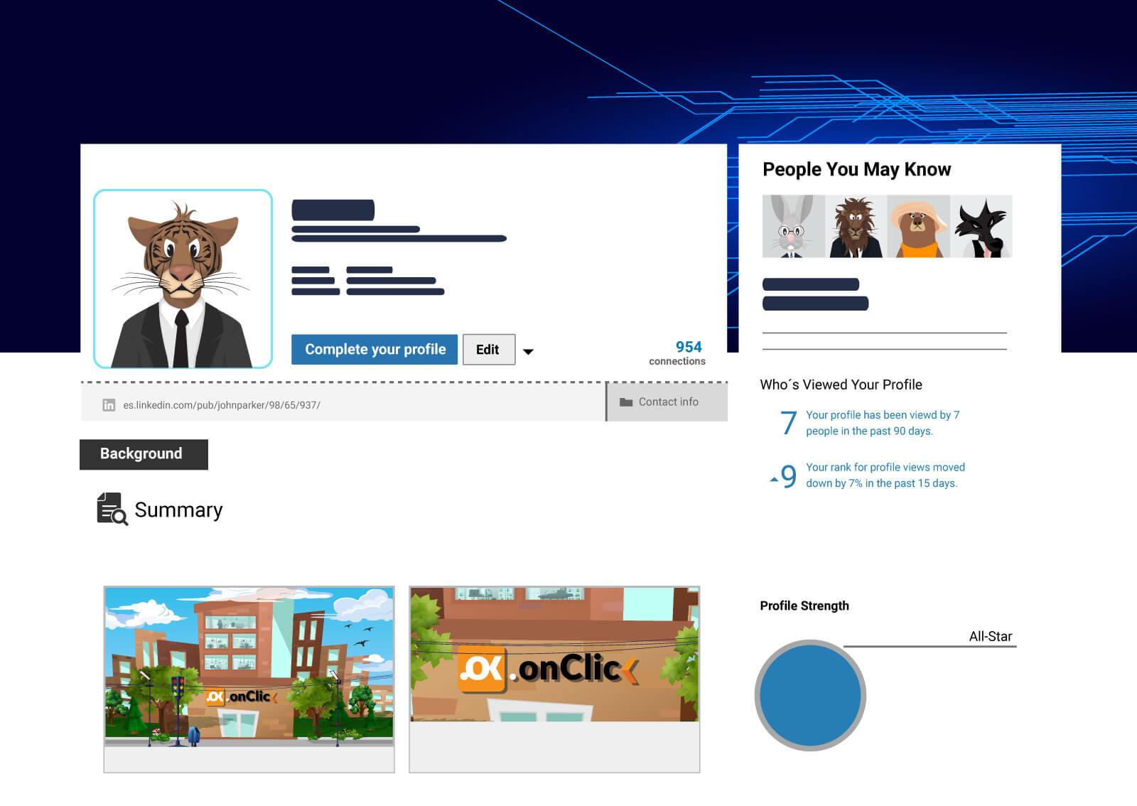 Ilustracija profila tigra na LinkedIn-u, predlog prijatelja, opis, kao i slike Web servisa naKlik