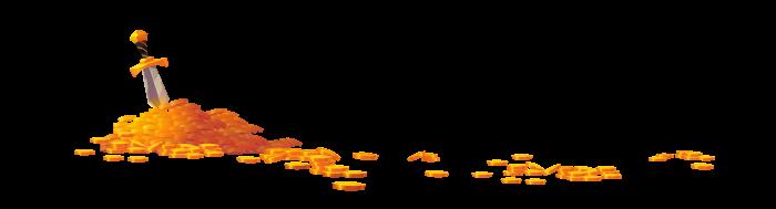 Ilustracija brda zlatnih novčića i mača zabodenog u njih