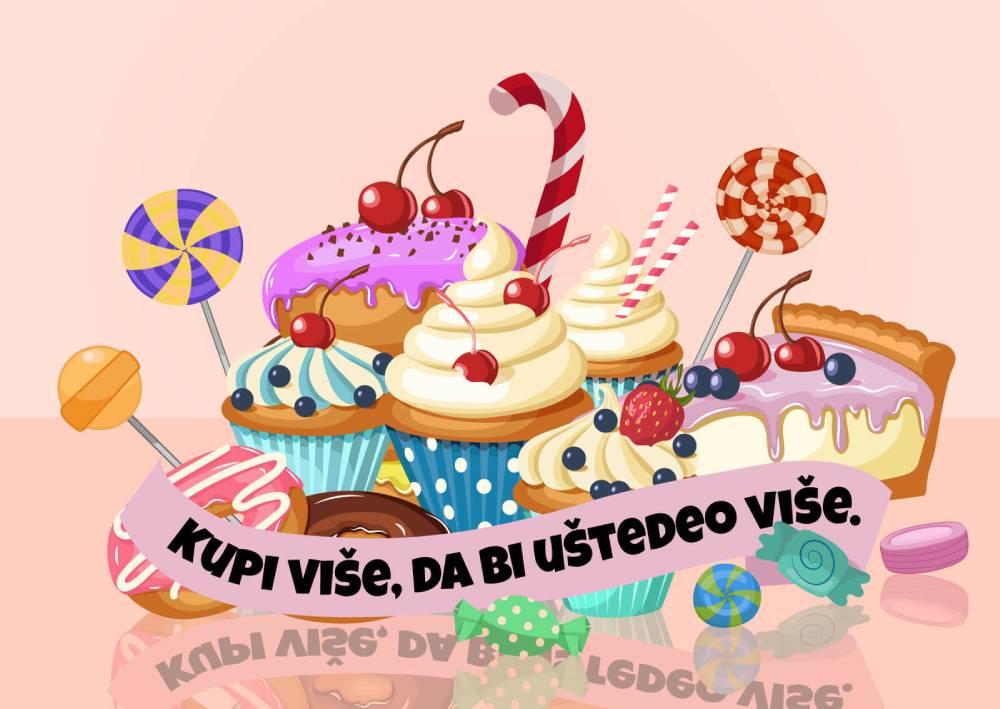 Ilustracija slatkiša sa sloganom za Black Friday: Kupi više da bi uštedeo više