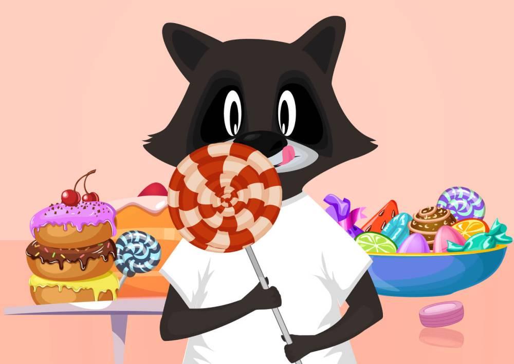 Ilustracija rakuna u radnji slatkiša kako drži lizalicu