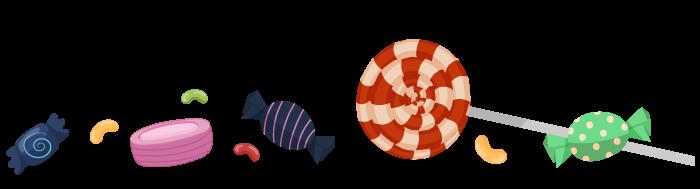 Ilustracija bombona, lizalice i ostalih slatkiša