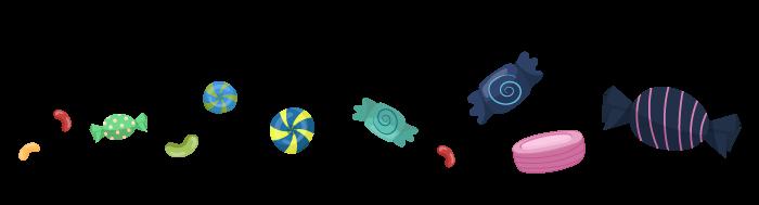 Ilustracija bombona i slatkiša