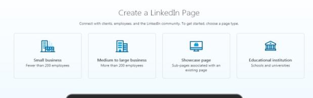 Printscreen LinkedIn stranice sa početnim menijem