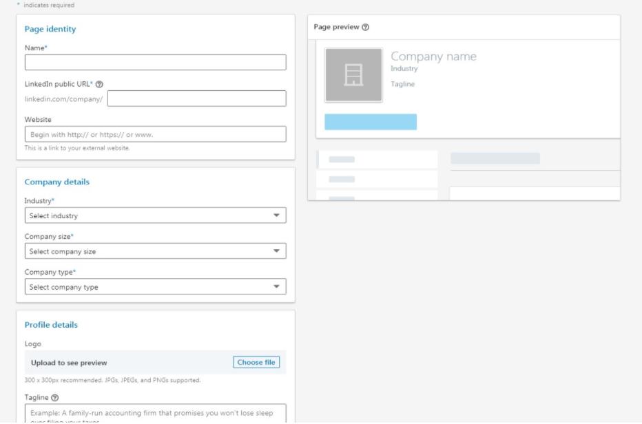 Printsceen LinkedIn stranice sa izlistanim podacima o poslovanju koje treba popuniti