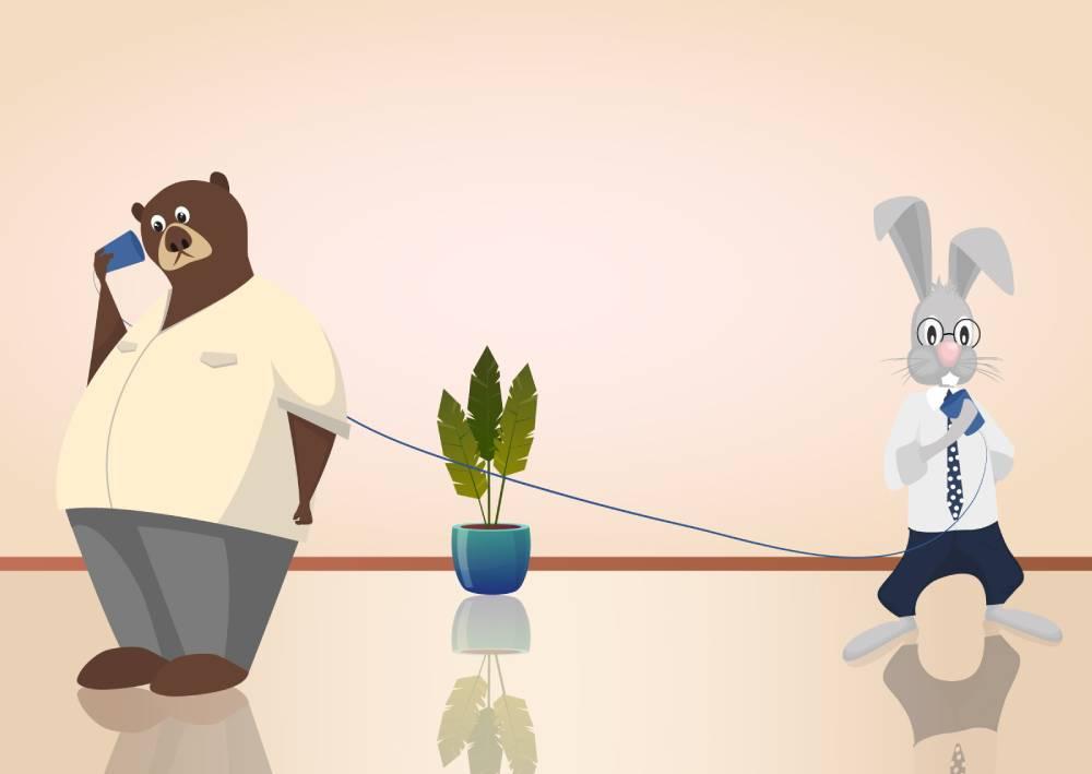 Ilustracija zeca i medveda koji pokušavaju da komuniciraju preko žice i čaše