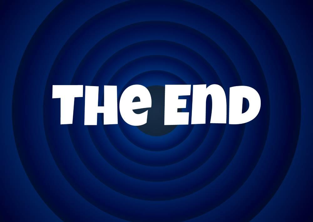 Znak sa natpisom The End koji pokazuje šta se dešava kada se rankira za porešnu reč