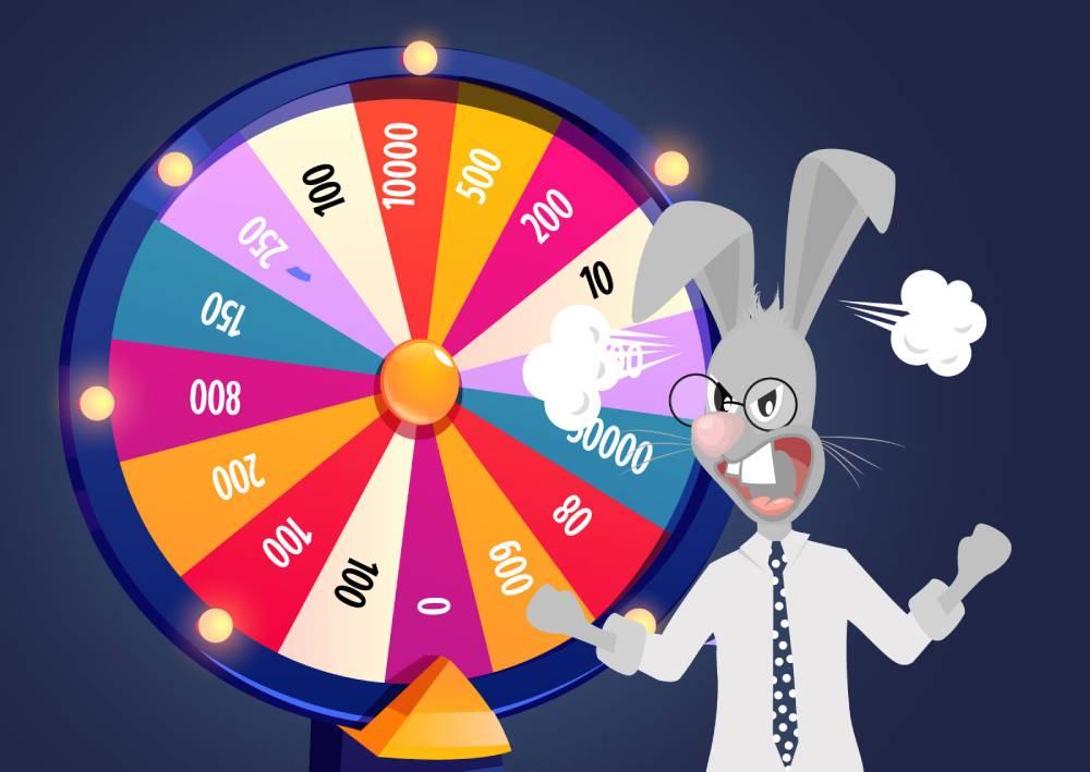 Ilustracija naKlik zeca koji se nalazi ispred tombole i predstavlja frustraciju korisnika nad boost opcijom