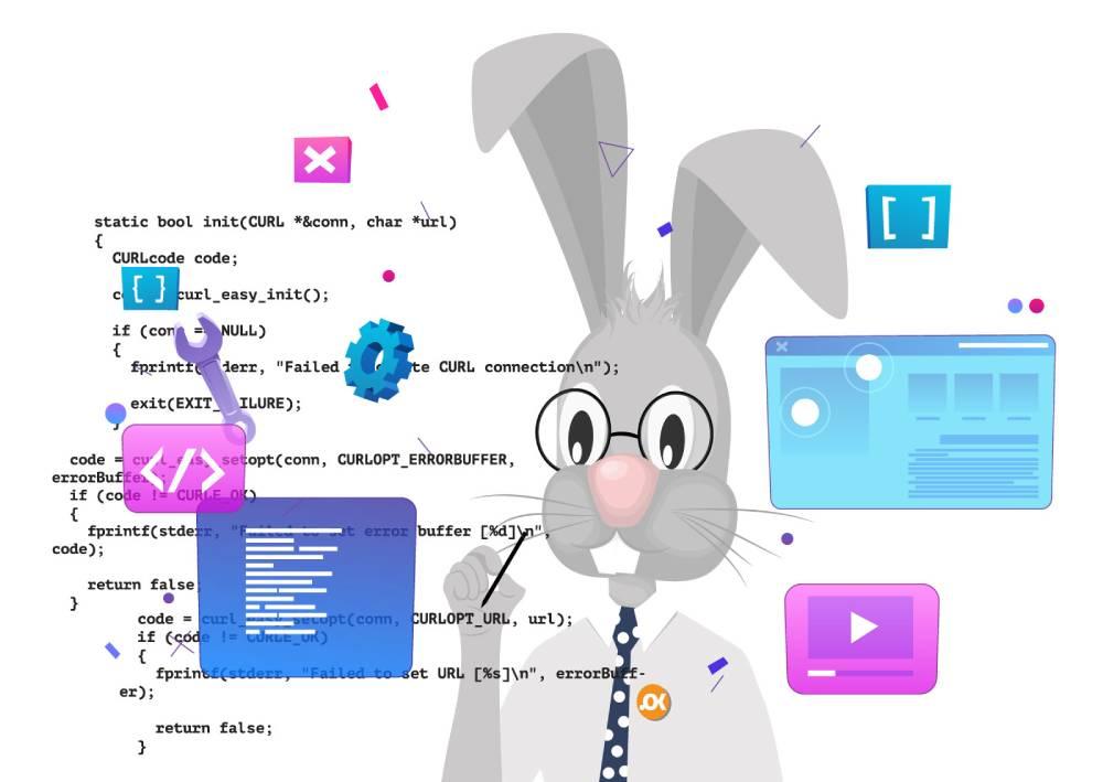 Ilustracija zeca koji ispisuje kodove kao predsava piksel koda koji se ugrađuje u sajt radi lakšeg merenje konverzija