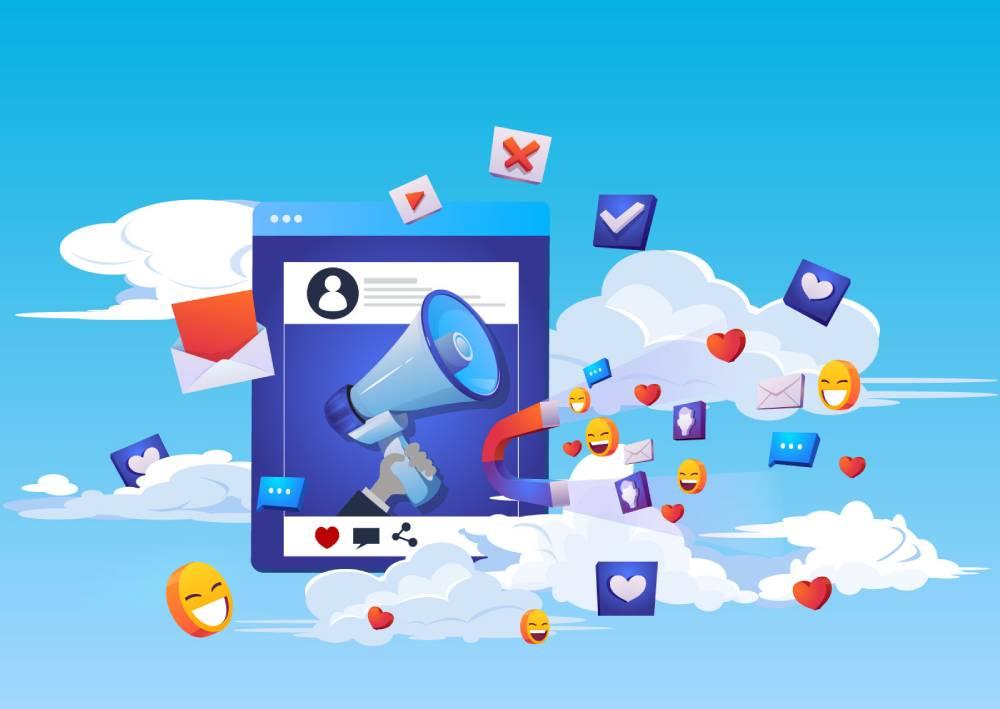 Ilustracija oglašavanja u Facebook Ads Manageru koja prikazuje na koji način možemo privući lajkove i engagement