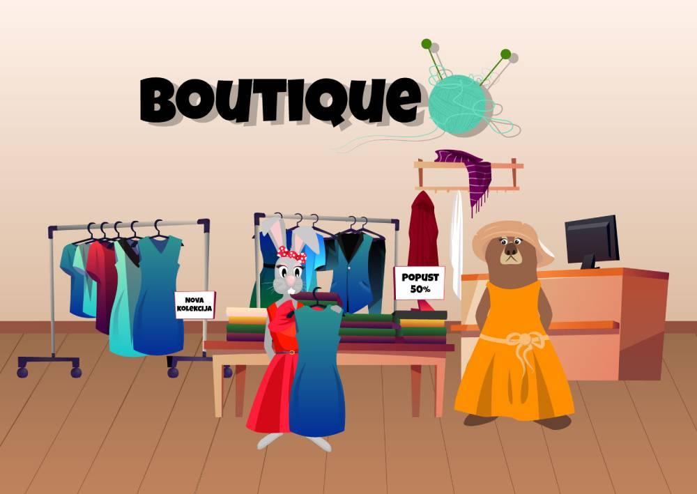 Ilustracija zečice i medvedice koje kupuju garderobu u butiku; primer kako se to može bolje istaći kroz Google Ads