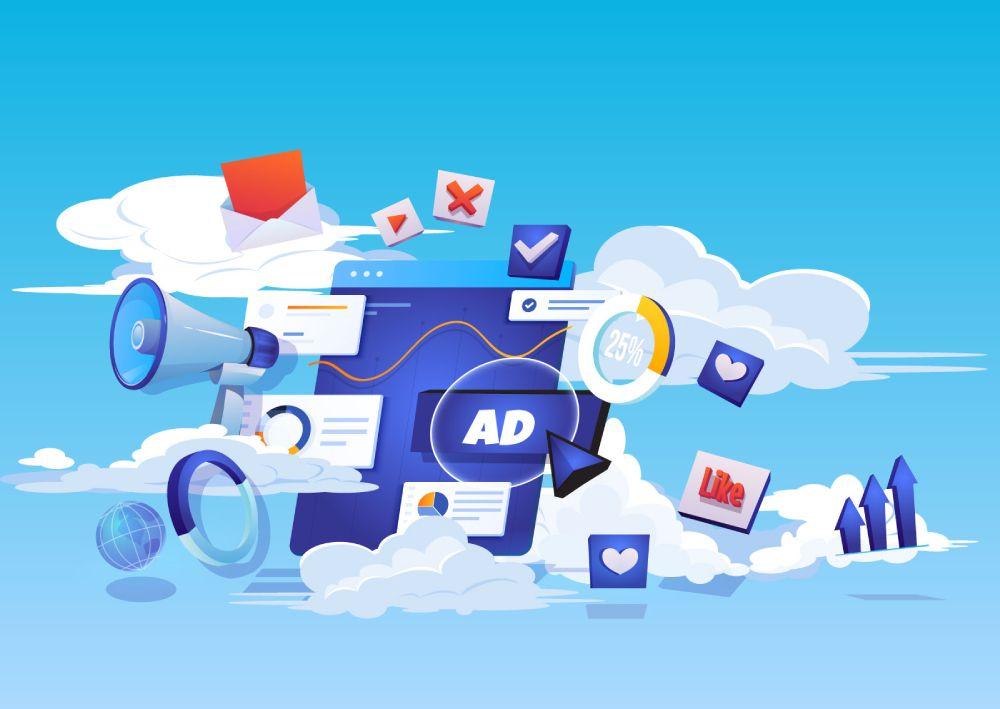 Ilustracija koja prikazuje oglašavanje na Google-u i rast prodaje; grafikoni sa rastom i tabele