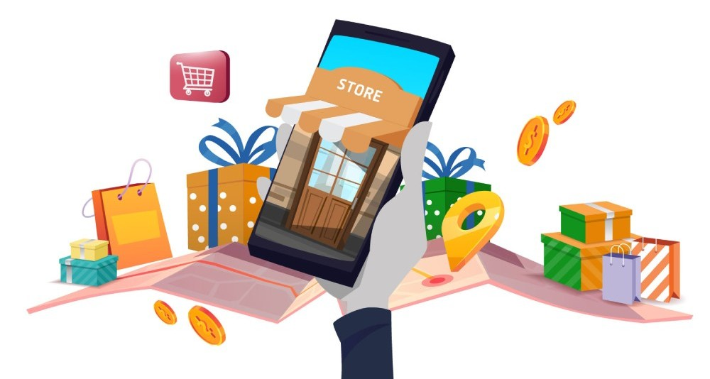 Ilustracija zečje šape koja drži telefon sa onilne rodavnicom koja vraća kupce u okviru custom audience