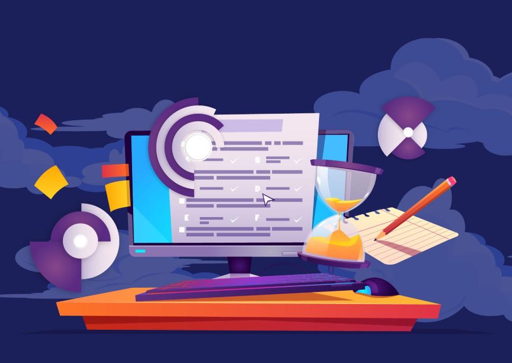 Ilustracija kompjutera, olovke, papira, peščanog sata kao reprezenti svega toga što može da se meri u marketing kapanjama