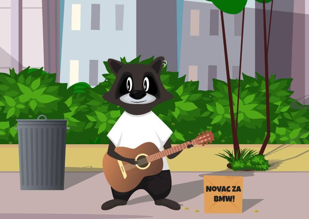 Ilustracija rakuna koji svira za novac