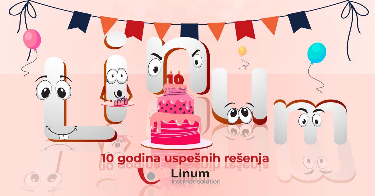 Ilustracija slova reči Linum oko rođendanske torte pink boje