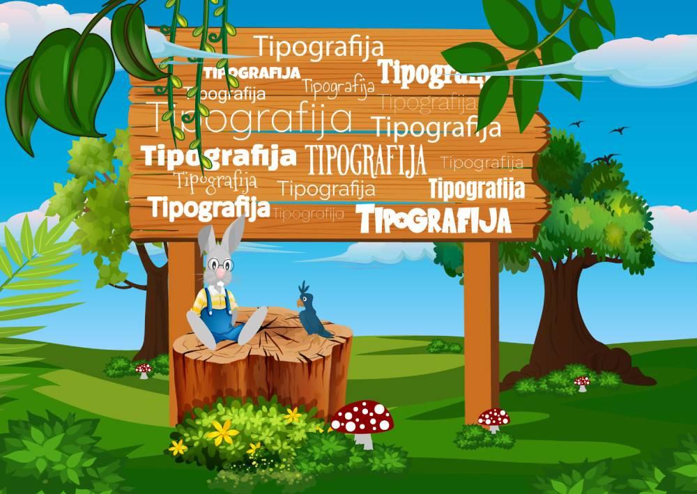 Ilustracija zeca i papagaja koji sede ispod bilborda na kojem je reč Tipografija napisana na najrazličitije načine