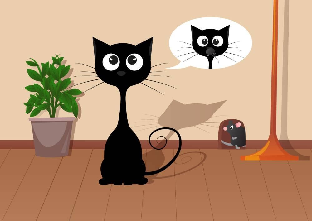 Ilustracija crne mačke koja mašta o tome da pojede miša