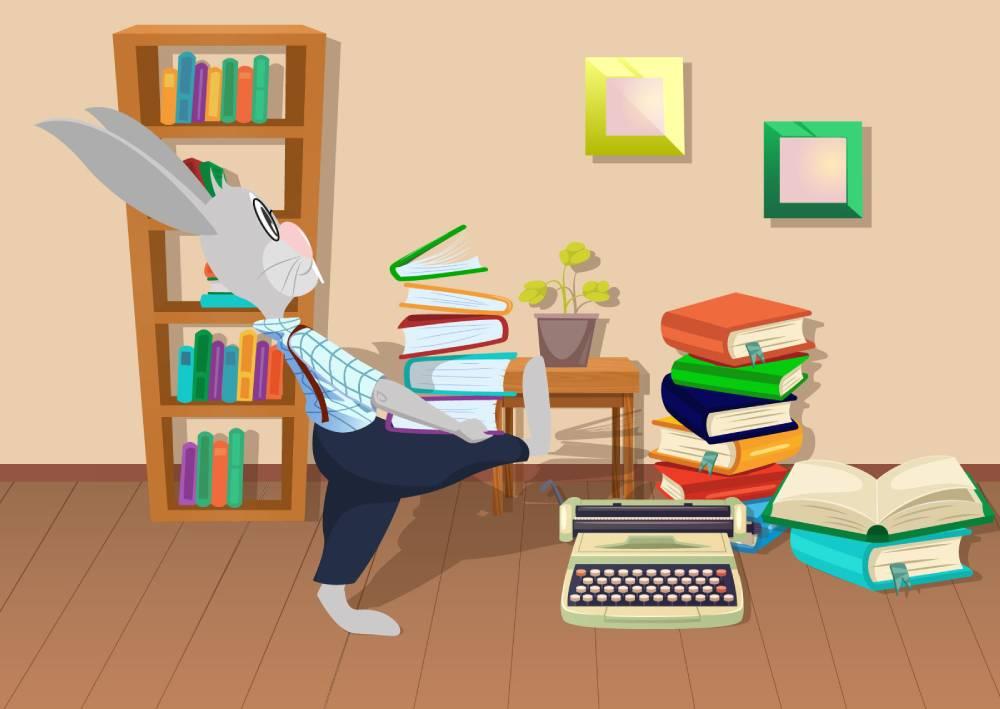 Ilustracija zaštitnog znaka web servisa naKlik - zec koji nosi knjige