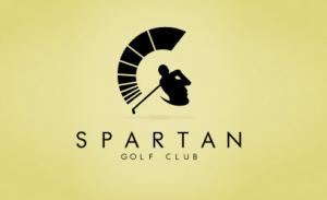 Logotip Spartan golf kluba koji istovremeno prikazuje i lik Spartanca i čoveka koji izvodi golf udarac