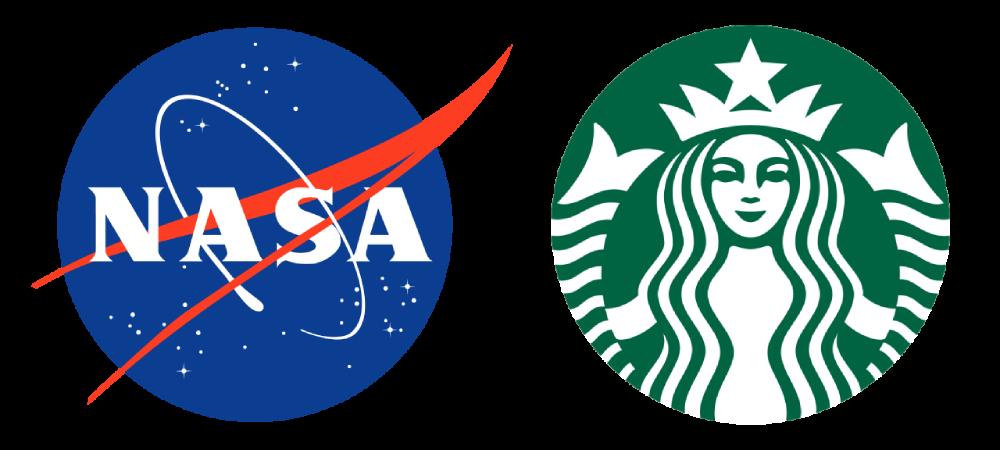 Logotip NASA i Starbucks kao primer komplikovanih logotipa koji su postali poznati i prepoznatljivi