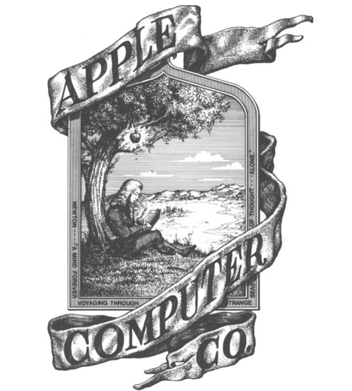 Prvogibini logo Apple kompanije koji pokazuje sličicu Njutna ispod jabuke i nečitljiv font