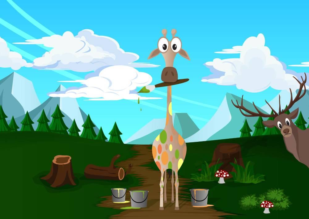 Ilustracija žirafe koja drži četkicu i farba svoje šare različitim bojama