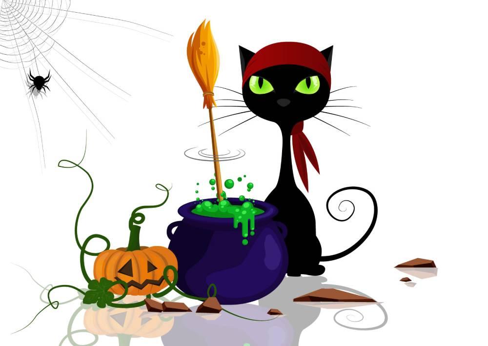 Ilustracija crne mačke i napitaka - kopirajting kao vrsta magije koja se bavi kreiranjem sadržaja i prodajnih tekstova