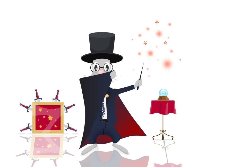Ilustracija zeca, zaštitnog znaka web servisa naKlik kao mađioničara koji izvodi iznenađujuć preokret