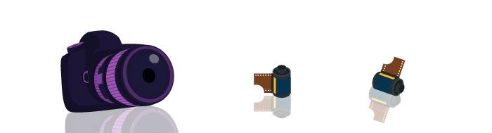 Ilustracija analognog fotoaparata i filmova