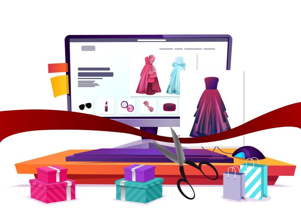 Ilustracija: Online shop sa crvenom trakom i makazama pokazuje kako otvoriti online shop