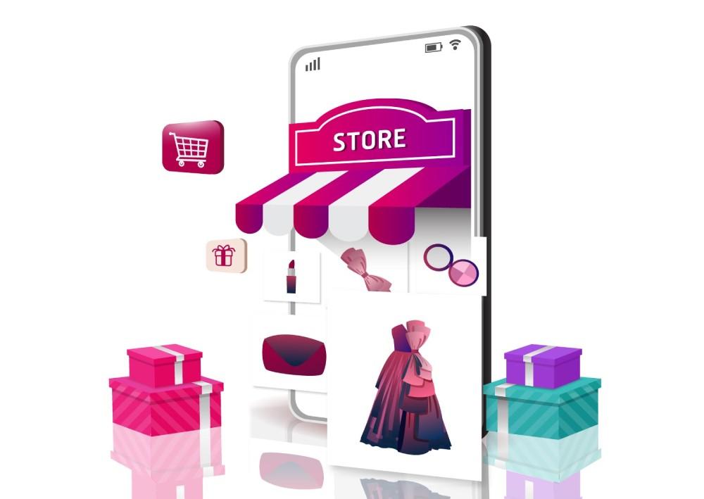 Ilustracija online shopa sa haljinama, torbama i kozmetikom. Prikaz dostavljanja i naručivanja preko mobilnog telefona