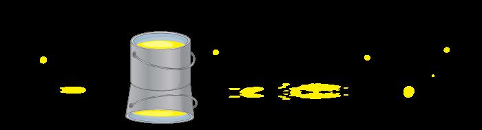 Ilustracija kantice sa žutom bojom i žutim flekama oko nje
