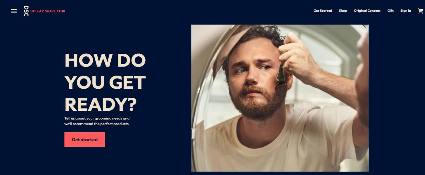 Primer prodajne stranice Dollar shave club-a na kojoj je prikazan čovek koji se brije uz poruku - Kako se spremaš?