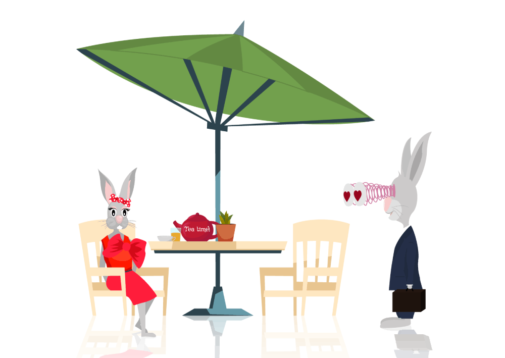Ilustracija zečice u crvenoj haljini i zeca koji se zaljubljuje u nju