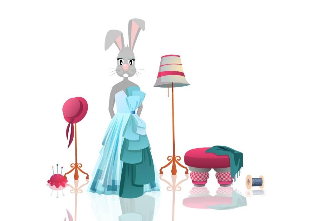 Ilustracija zečice koja kombinuje boje - plavu i ružičastu kako bi privukla pažnju kao jedno od marketing rešenja
