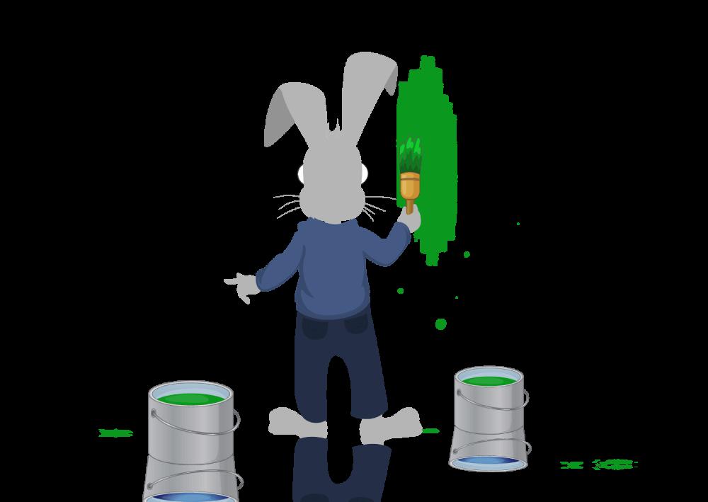 Ilustracija - zaštitni bznak web servisa naKlik - zec koji farba beli zid u zelno