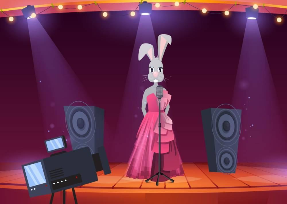 Ilustracija zečice i osvetljenja - kamera se nalazi ispred, jedno svetlo sa desane strane, sa leve dopunsko i kontra iza