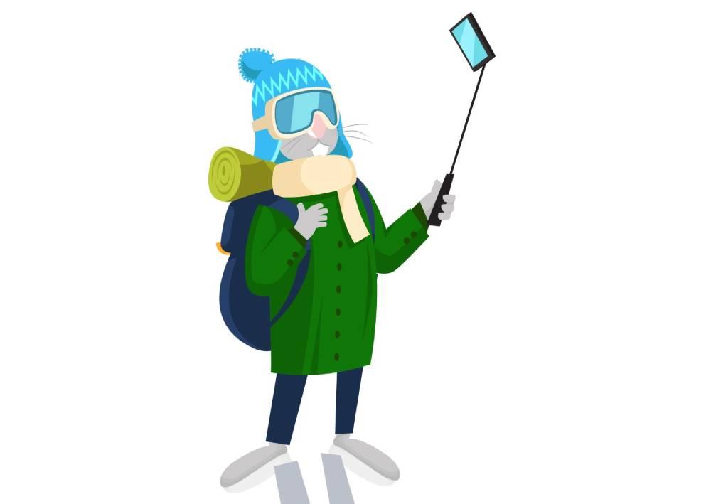Ilustracija zeca koji si se fotografiše mobilnim telefonom